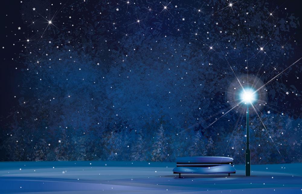 冬季黑夜荒郊图:冬季寒冷黑夜的照片