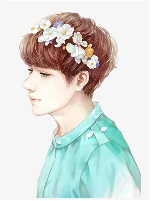 头顶带花的温柔男孩#头像#男生#二次元