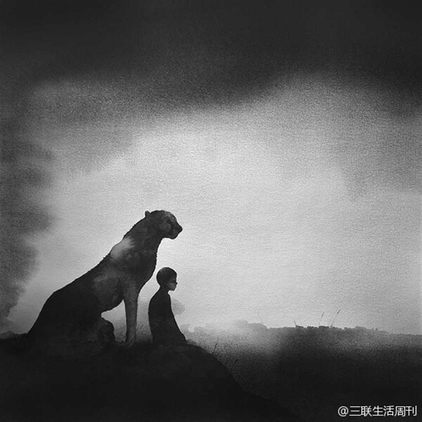 一个孤独小孩的黑白梦境.#小孩#黑白#雾